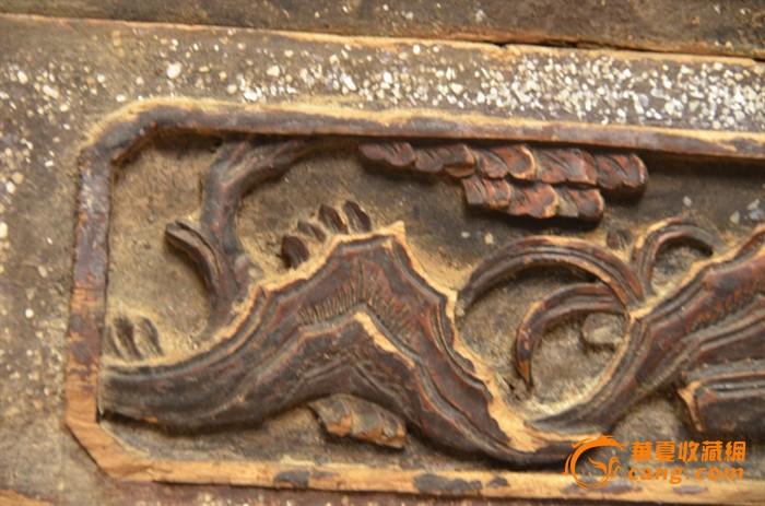 一对清代竹子图案老木雕花板
