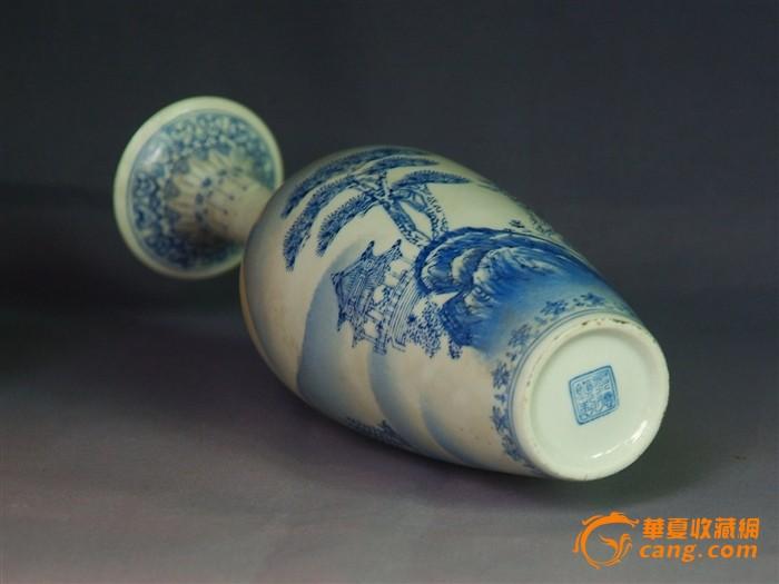地摊 陶瓷 其它 > 手工彩绘山水风景图薄胎赏瓶