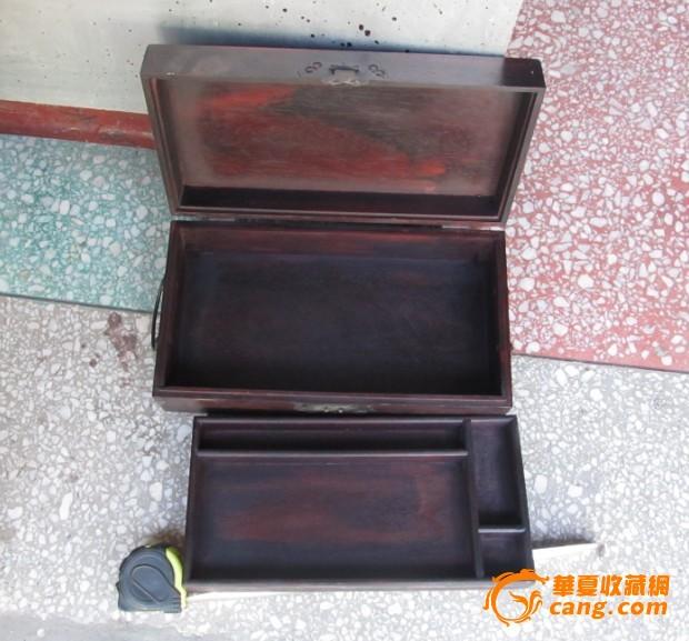 红木雕刻文房四宝双层木箱