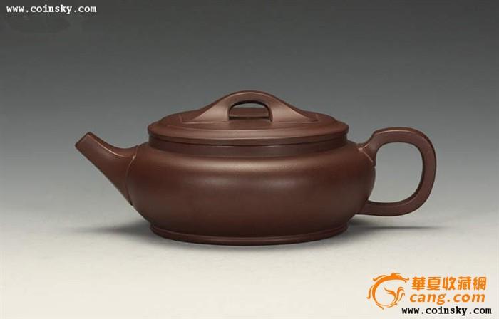宜兴紫砂壶 茶壶 李雪勤手工制作 稀有紫茄泥 天地方圆