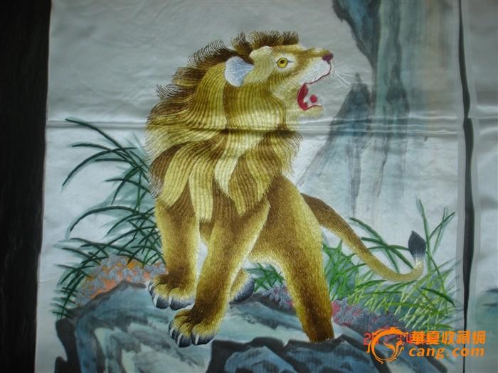 织锦.湘绣民间工艺品:动物狮鹿马虎