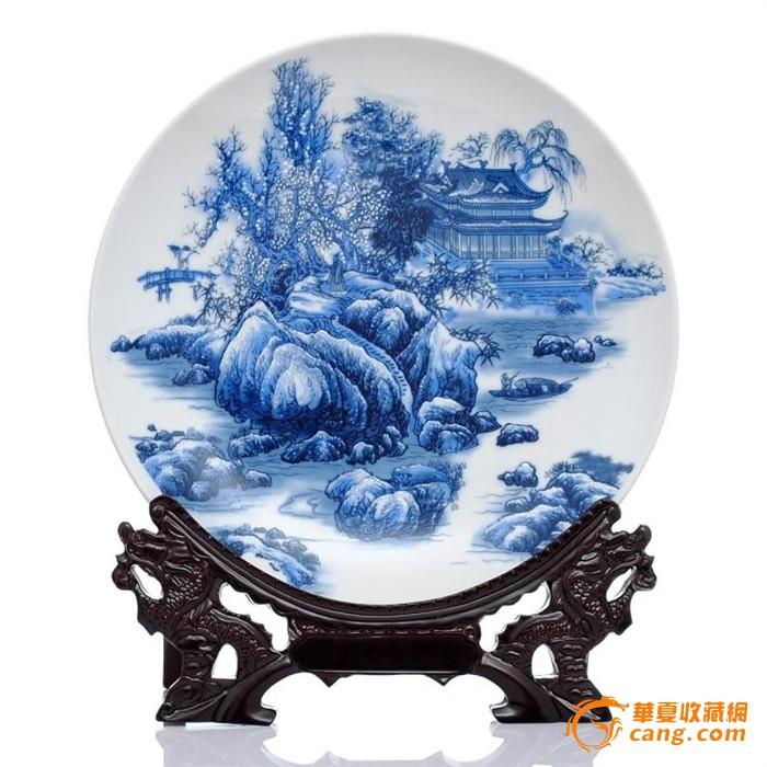 陶瓷器粉彩青花瓷盘 花盘子摆设 摆件礼品