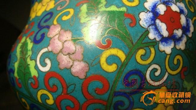清代景泰蓝花卉花瓶图3