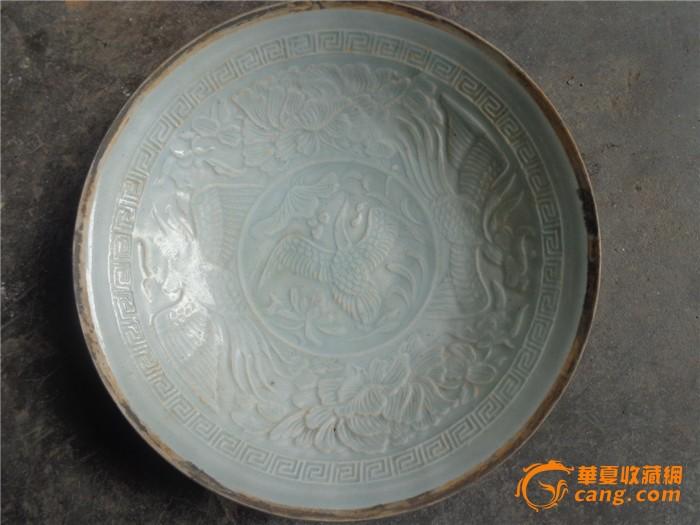没有款不明年代湖田窑的三牡丹花纹凤碗超薄1630元包邮