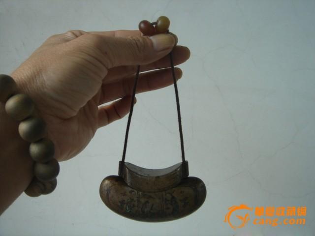 清代烤兰人物铜烟丝盒