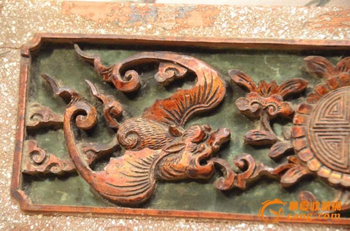 """一件清代深雕""""双蝠捧寿""""老木雕花板"""