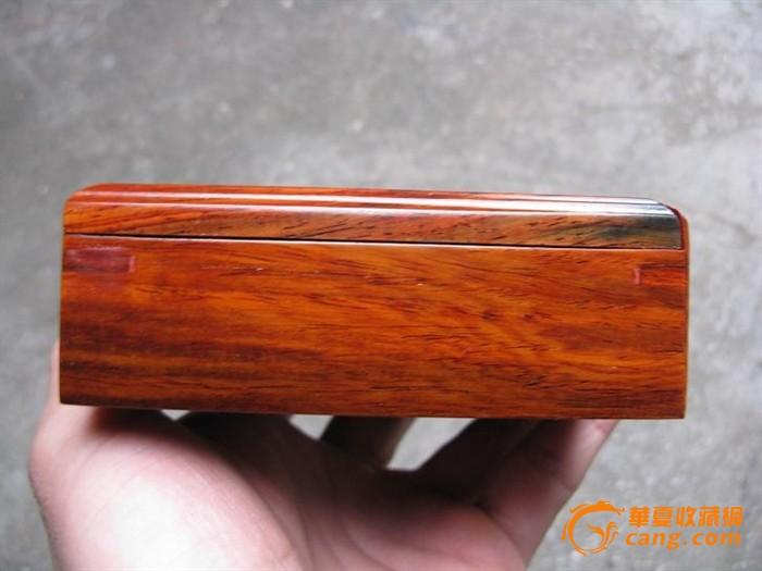 红酸枝盒子, 榫卯结构,花纹好(#9)