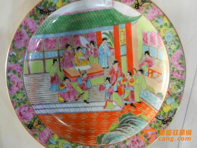 广彩花卉人物盘图片
