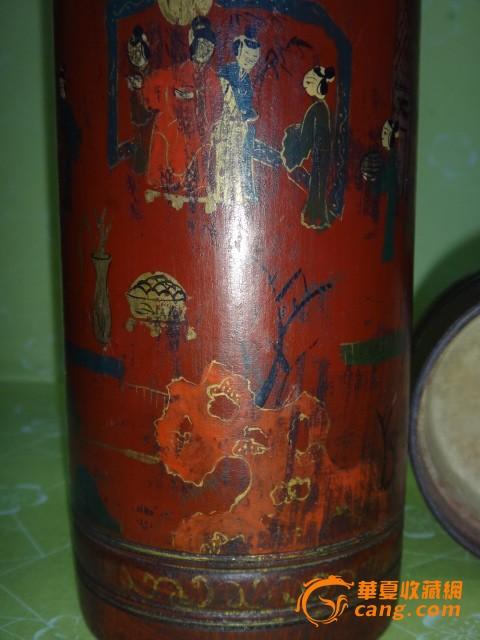 描金漆器人物茶叶罐图片