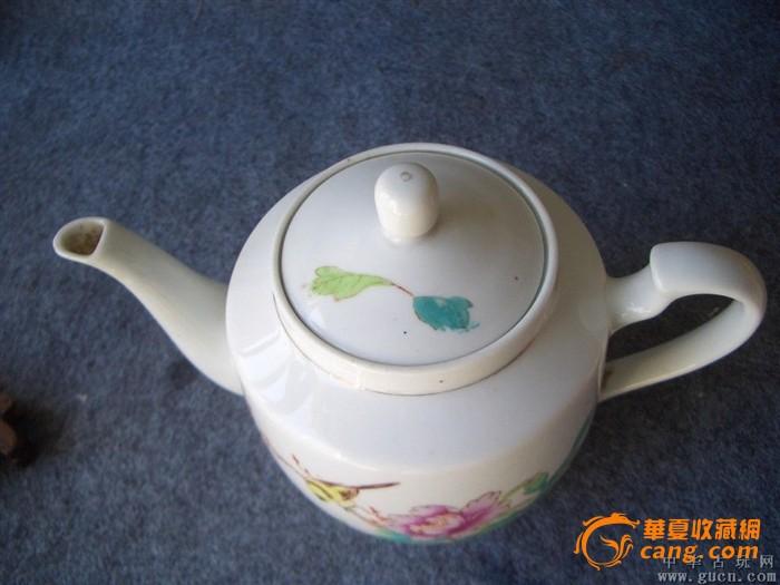文革--手绘花鸟茶壶