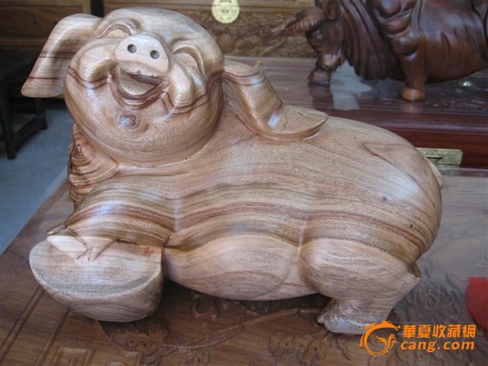 香樟木元宝猪(招财猪)