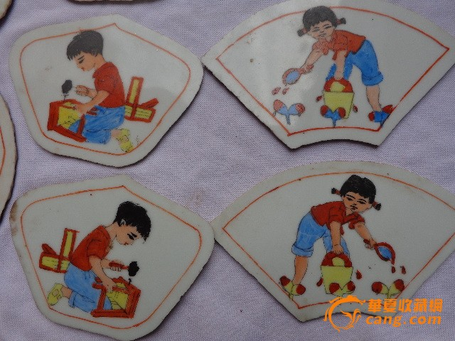 民国儿童劳动画瓷板21块