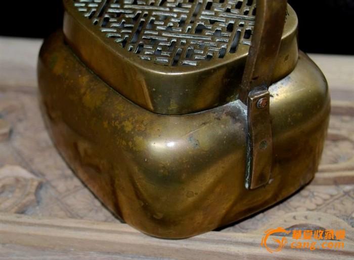 铜俗类清万字纹方形铜手炉