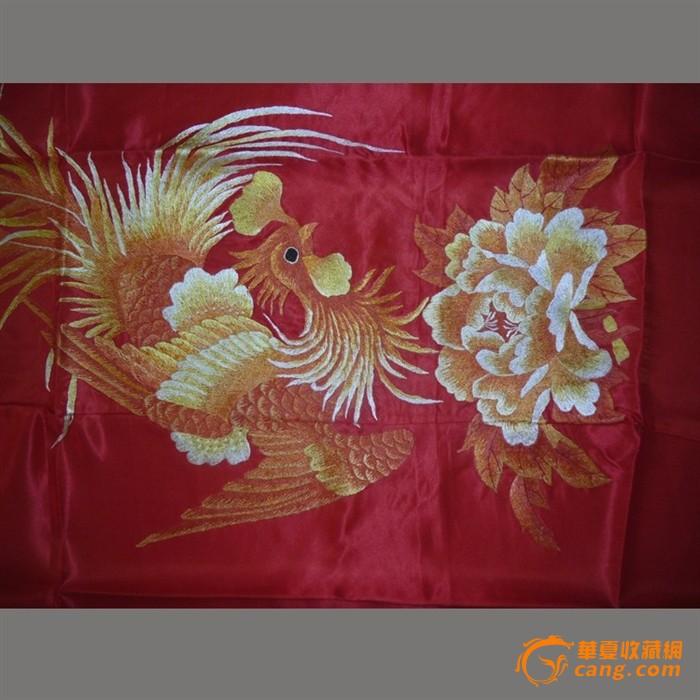 慕名湘绣 老刺绣收藏精品 凤穿牡丹图片