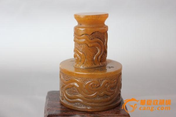 老寿山石璃龙纹印纽圆形印章一枚 高8cm
