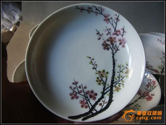 民国红绿梅花盘子10只