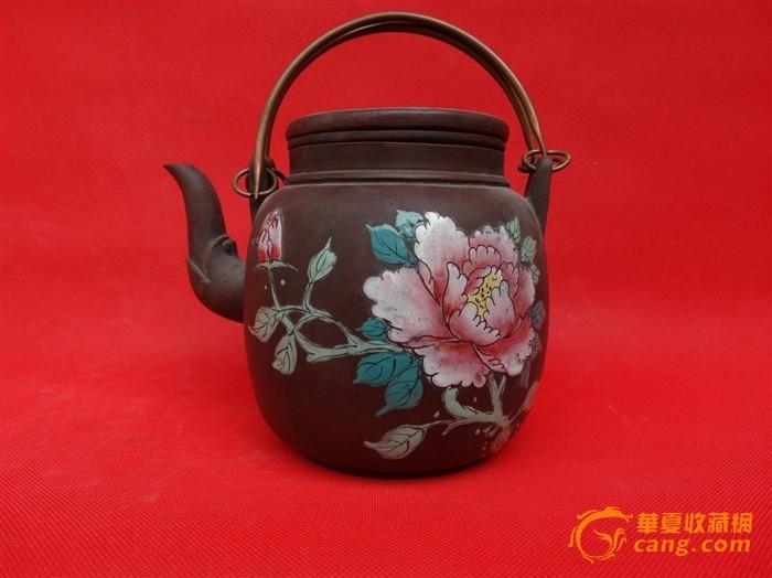 80年代紫砂加彩(手绘)茶壶