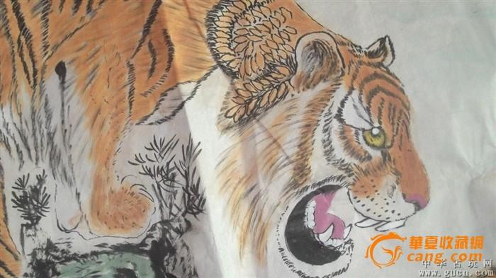 老虎画国画,四世同堂都是虎将,画的很认真
