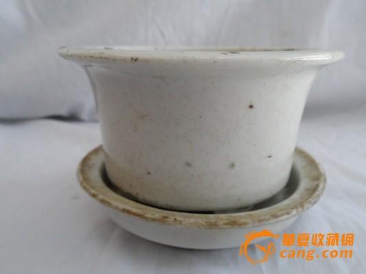 清代白釉花盆