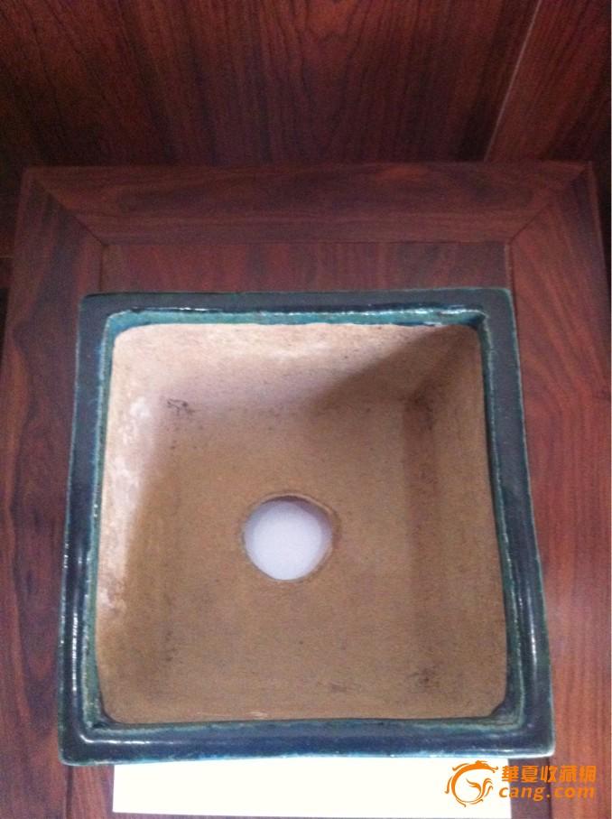 民国绿釉方斗花盆