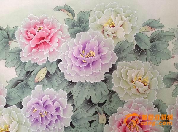 手绘牡丹花素描图片