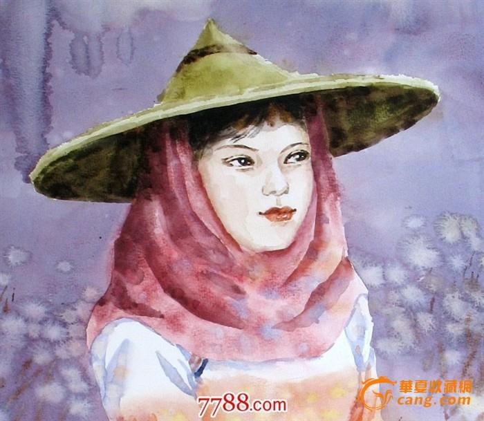 名家作品武朝利水彩画人物画写实 惠安女 装饰wzl027