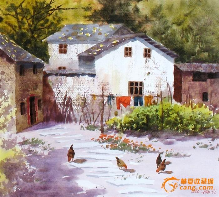 名家作品武朝利水彩画风景画写实 农家小院 装饰wzl040图2; 彩画风景