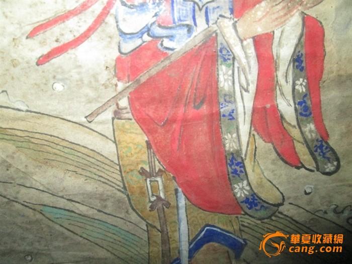 地摊 字画 古代 清代矿物彩人物画,不老可退货.