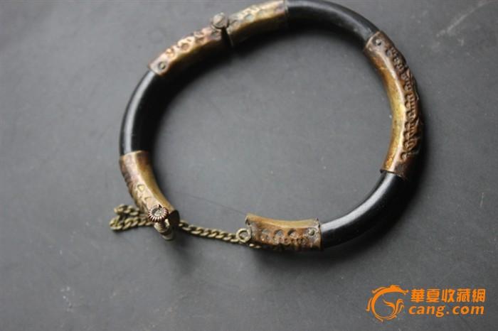 清代·老海底藤戗精细雕铜鎏金 儿童手镯(少见)