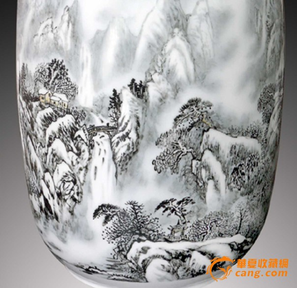 工艺美术大师手绘全景幽居冬幕图大花缸