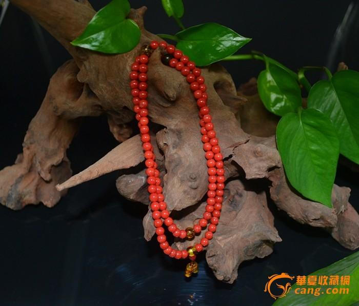 辣椒红108粒珊瑚串珠