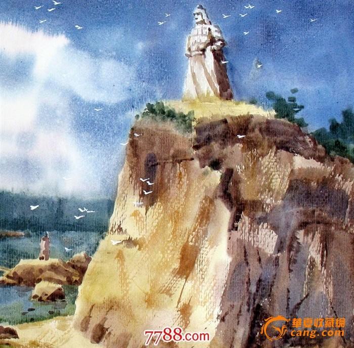 名家作品武朝利水彩画风景画 厦门鼓浪屿风光郑成功wzl023