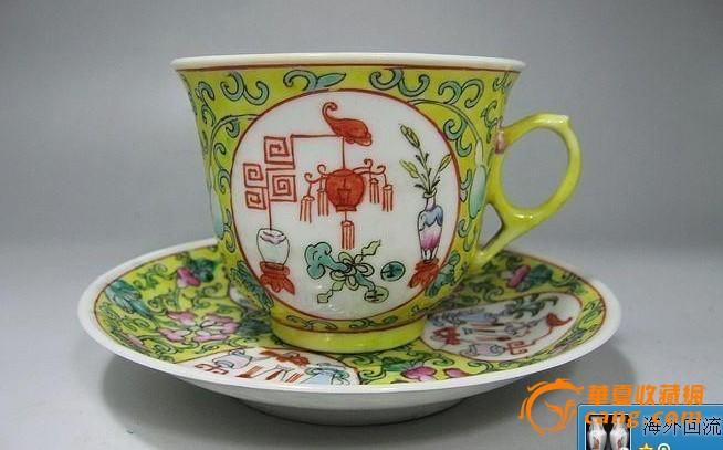 民国黄地开光博古纹茶具