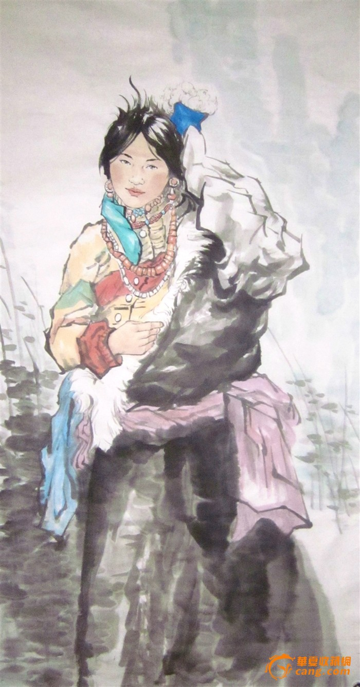 四尺人物画少数民族姑娘