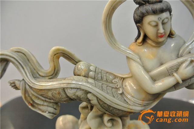 寿山石雕刻飞天摆件