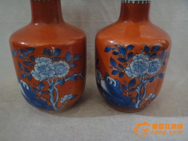 霁红釉青花花鸟赏瓶一对图3