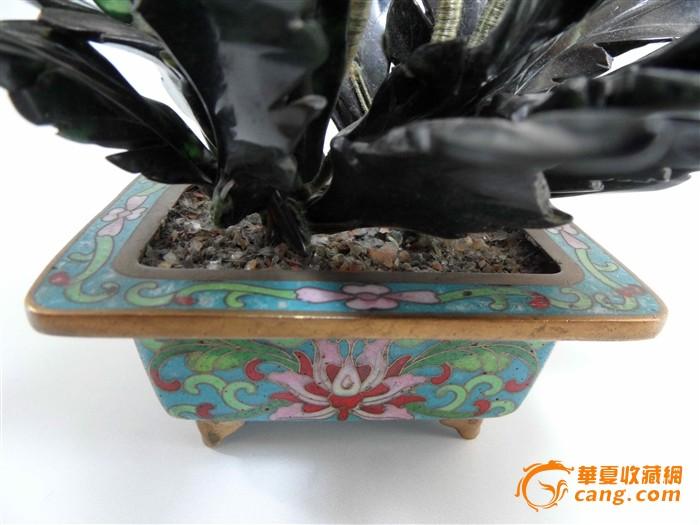 景泰蓝玉花卉招财树盆景 高清图片