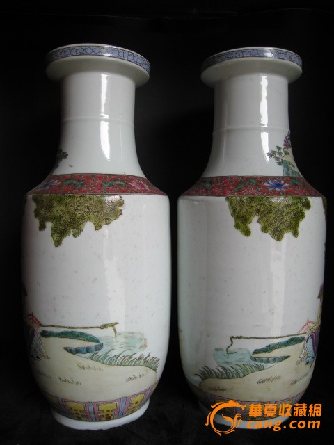 清代粉彩瓷文王访贤图棒槌大瓶1对图3
