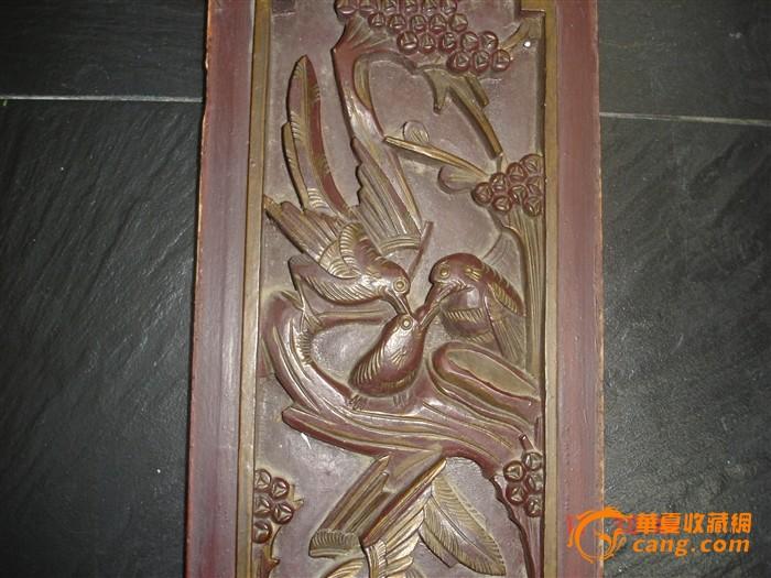 花鸟人物 木雕长条板一对