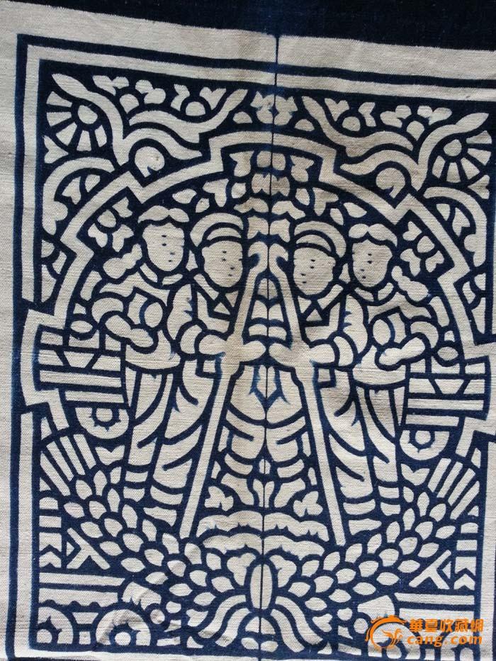 漂亮轮齿形工农兵图案蓝夹缬 蓝印花布中国蓝夹缬土布