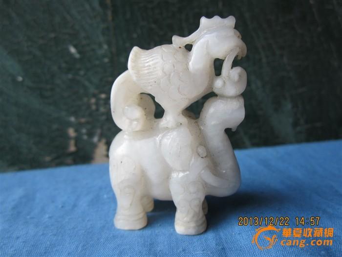老和田白玉雕鸟和大象摆件图9