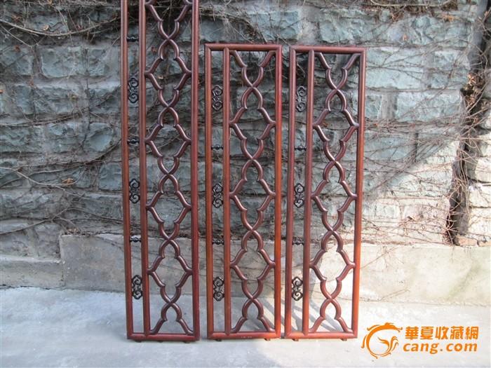 榉木镶老红木结子菱角栏杆