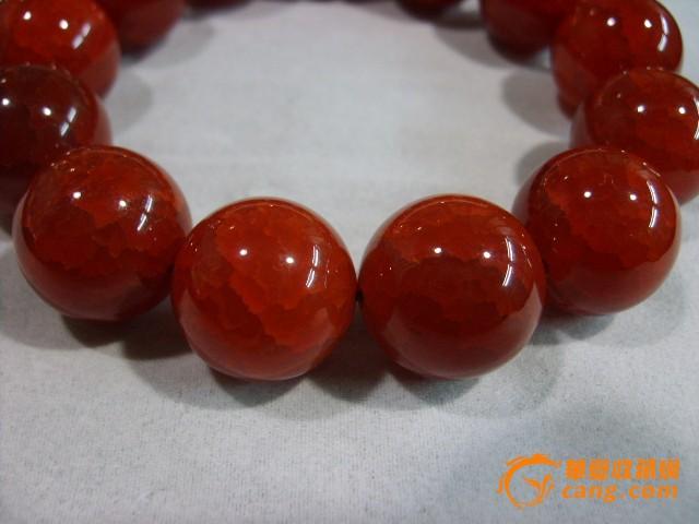 圆形珠子天然网状结构战国红玛瑙手链一条