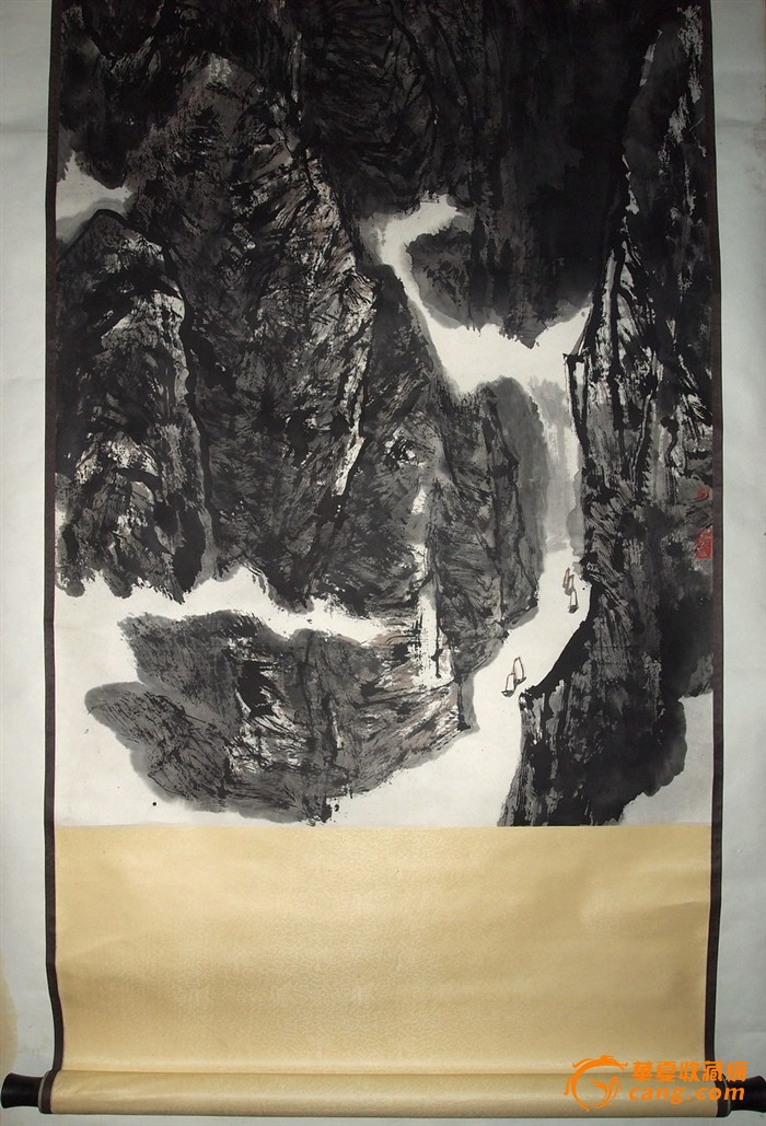 当代名家--刘朴--八十年代原装裱大幅山水《三峡泛舟图》图片