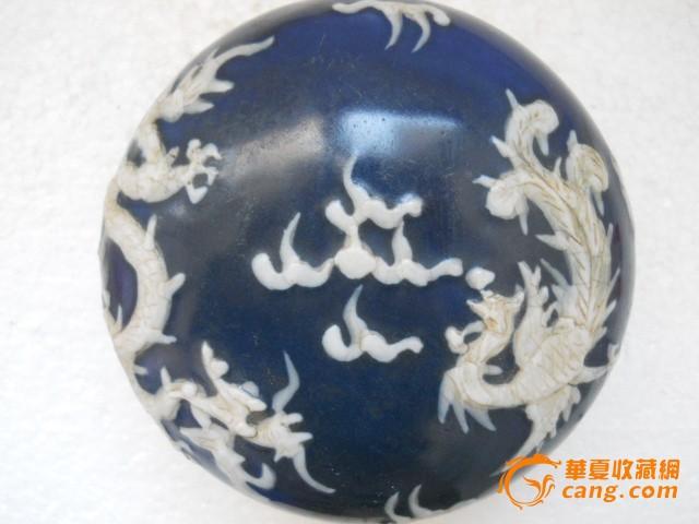 霁蓝釉堆塑龙凤大瓷盒 全品 图1