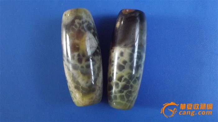 四颗蛇皮花纹天然玛瑙珠