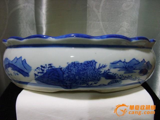 民国后期大号青花涂鸦山水人物风景图水仙盆也可做笔洗水洗使用
