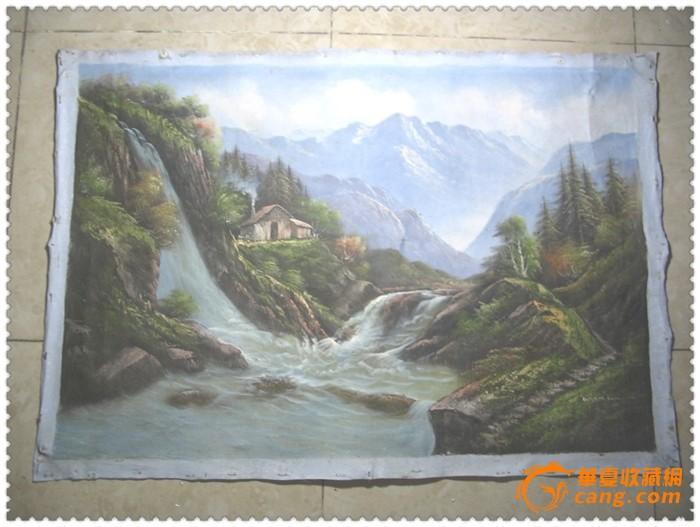画工精美的手绘山水纹旧油画