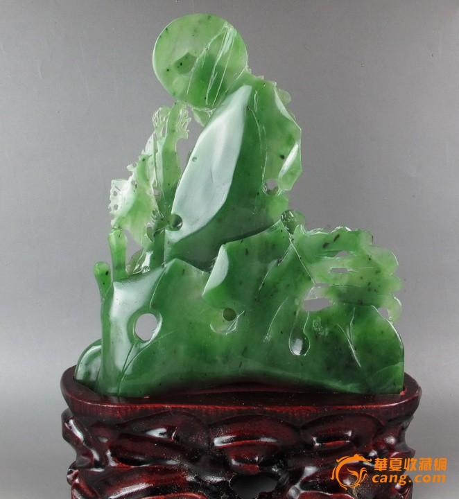 和田玉菠菜绿碧玉精雕花开富贵摆件图片