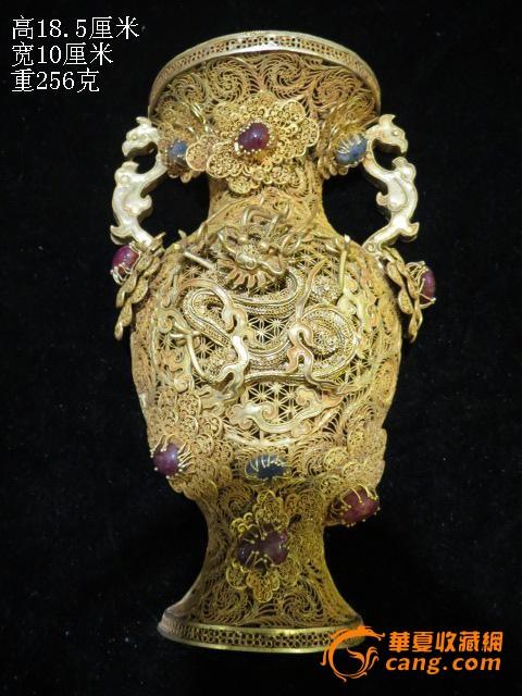 明代银鎏金掐丝骧宝石舍利塔 唐代纯银鎏金香薰 古代纯银梅瓶 五代